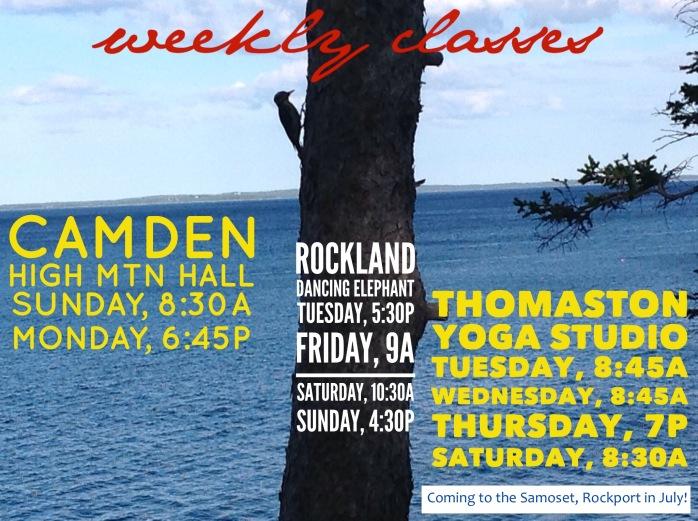 midcoast maine weekly yoga meditation class schedule camden rockland rockport thomaston